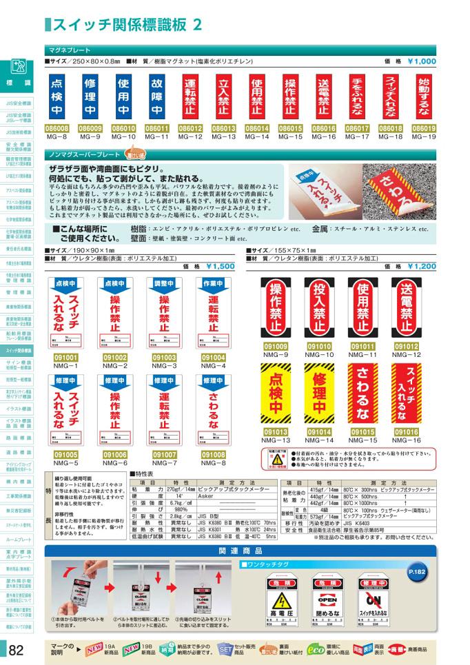 安全用品カタログ P.82-スイッチ関係標識板 2 (1)/スイッチ関係標識板 2 (1)